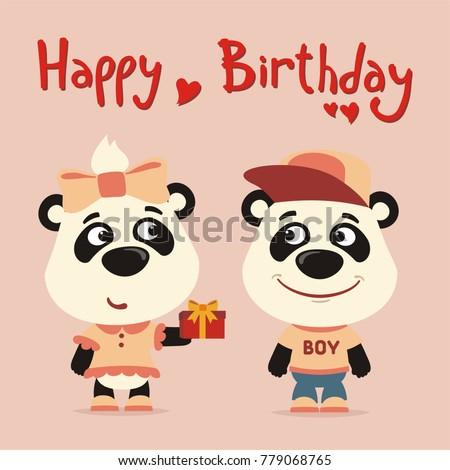 Happy birthday greeting card funny panda stock vector 779068765 happy birthday greeting card funny panda girl gives gift to boy panda for birthday bookmarktalkfo Choice Image