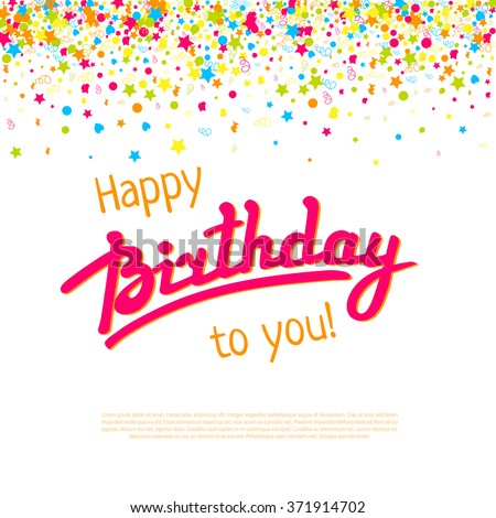 Happy birthday greeting card template vector lettering stock photo happy birthday greeting card templatector lettering and failing confetti background decoration for carnival m4hsunfo