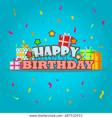 Happy Birthday Greeting Card Template Gift Stock Vector Royalty