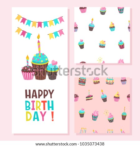 Happy birthday greeting card two seamless stock vector royalty free happy birthday greeting card two seamless patterns lovely birthday cakes with candles for m4hsunfo