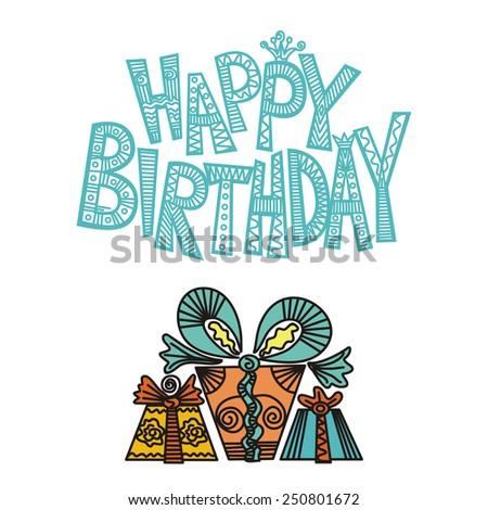 Happy birthday greeting card vector illustration - stock vector