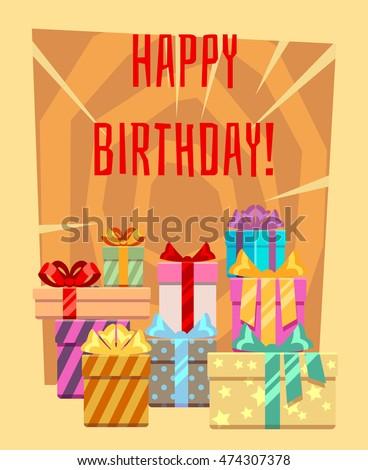 Happy Birthday Greeting Card Heap Gift Stock Vector 474307378