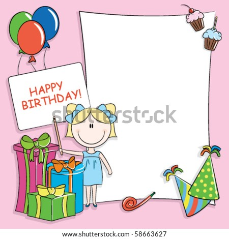 Happy birthday greeting card blank place stock vector 58663627 happy birthday greeting card with blank place for your wishes and message m4hsunfo