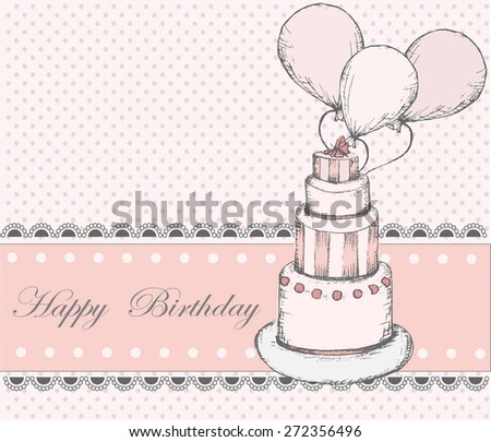 Happy Birthday Greeting card with cake - stock vector
