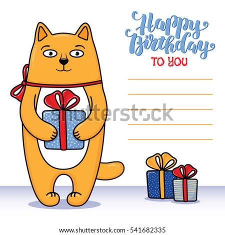 Happy Birthday Greeting Card Cat Holding Stock Vector 541682335