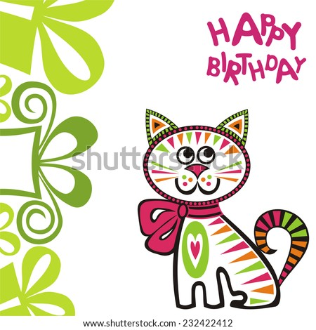 Happy birthday greeting card with cat vector illustration - stock vector
