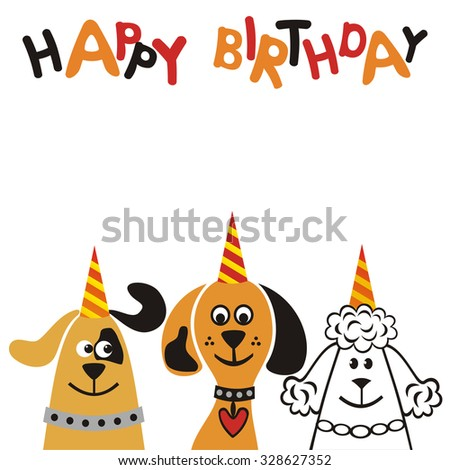 Happy birthday greeting card with cute dogs vector illustration - stock vector