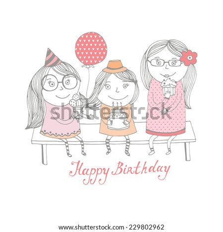 Happy birthday greeting card with cute girls - stock vector