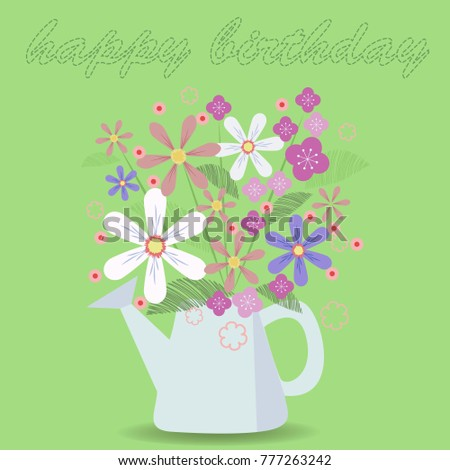 Happy Birthday Greeting Card Flowers Watering Stock Vector Royalty