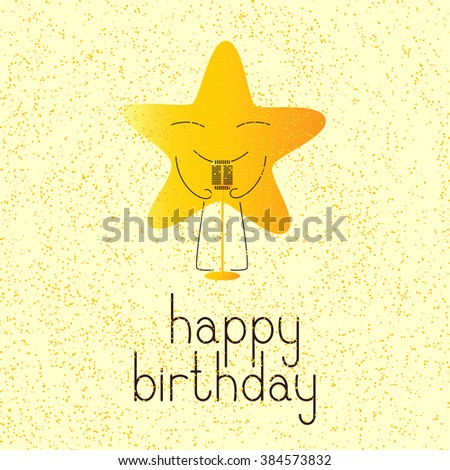 Happy birthday greeting card with golden colored cartoon star character with retro microphone and lettering Happy birthday in English on yellow background and golden dotes - stock vector