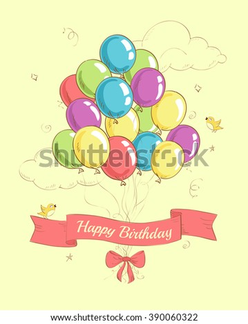Happy birthday greeting card with lots of colorful balloons, ribbon and bow on the sky background. Birthday balloons. Vector illustration. Eps 8 - stock vector
