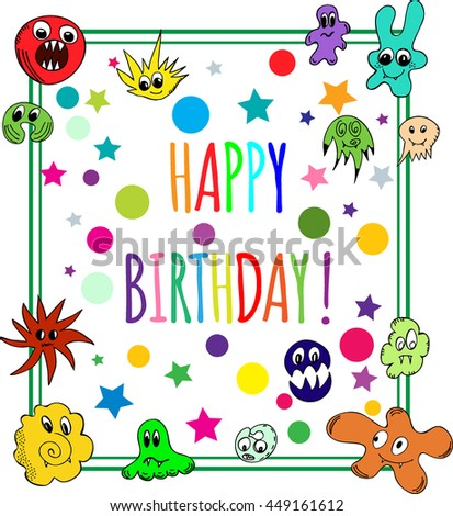 Happy Birthday Greeting Card with multicolored monsters. Vector Illustration - stock vector