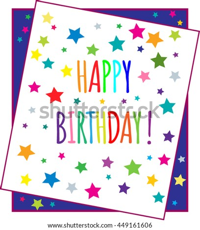 Happy Birthday Greeting Card with multicolored stars. Vector Illustration - stock vector