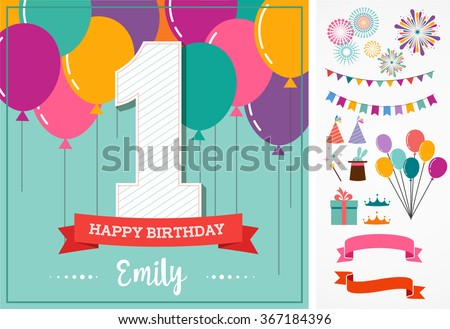 Happy Birthday greeting card with party elements - stock vector