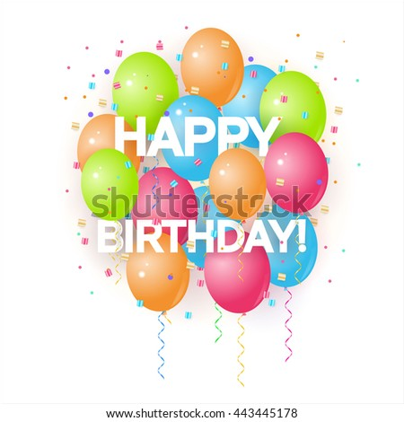 Happy birthday greeting card volume colored stock vector 443445178 happy birthday greeting card with volume colored balloons and sample text can be used as m4hsunfo