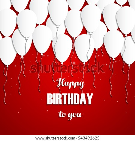 Happy Birthday Greeting Card White Balloons Stock Vector Hd Royalty