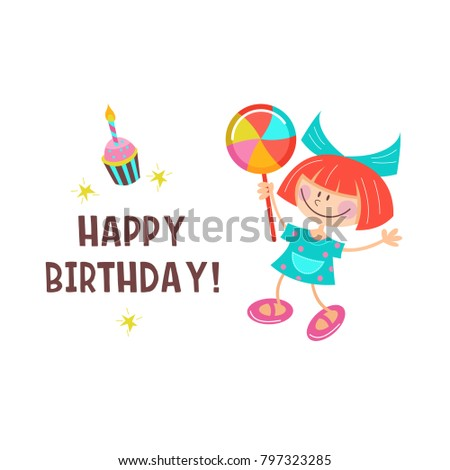 Happy birthday greeting cards cute girls stock vector 797323285 happy birthday greeting cards cute girls having fun and delicious cakes with candles bookmarktalkfo Image collections