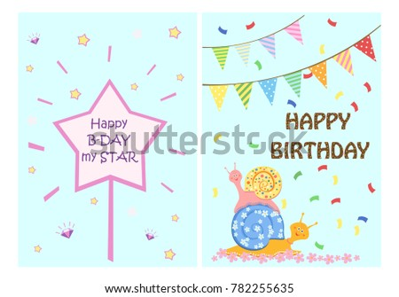 happy birthday greeting cards templates kids stock vector 782255635