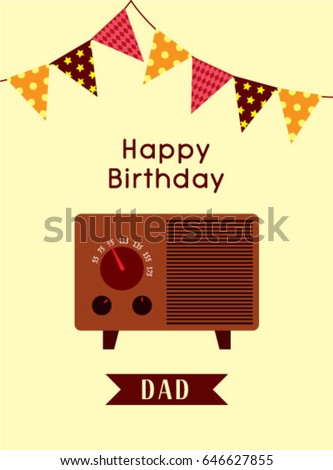 Happy birthday greeting dad vintage radio stock vector royalty free happy birthday greeting to dad with vintage radio graphic m4hsunfo
