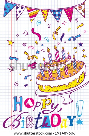 Happy Birthday hand-drawn card - stock vector