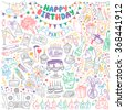 Happy Birthday hand drawn set. Party decoration, gift box, cake with candles, fireworks, confetti, party hats, bouquet, desserts and beverages. Vector outline illustration isolated  on white. - stock vector