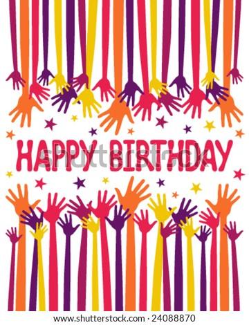 Happy birthday hands vector. - stock vector