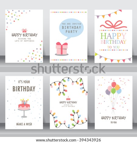 happy birthday, holiday, christmas greeting and invitation card.  there are typography, gift boxes, confetti, cake and teddy bear. layout template in A4 size. vector illustration - stock vector