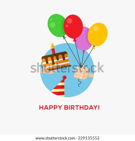 Happy birthday icon, hand with balloons and cake, flat design, vector illustration - stock vector