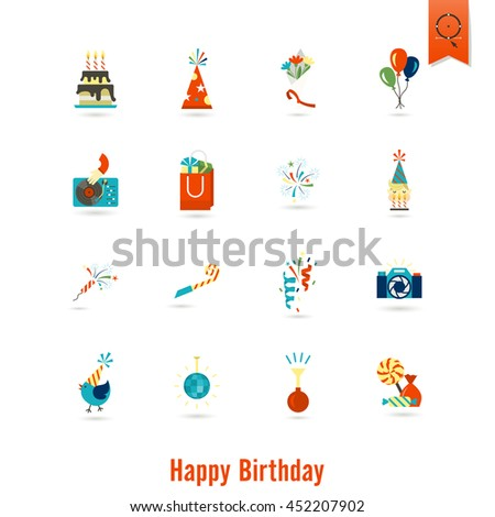 Happy Birthday Icons Set. Simple, Minimalistic and Flat Style. Colorful. Vector