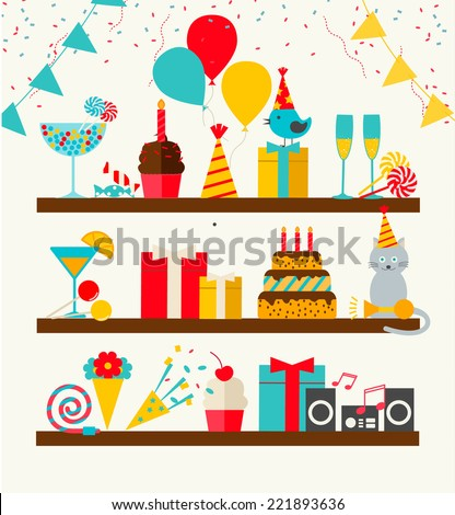 Happy Birthday icons set, vector illustration. Party and celebration design elements: balloons, flags, confetti, cake, drinks, gifts etc. - stock vector