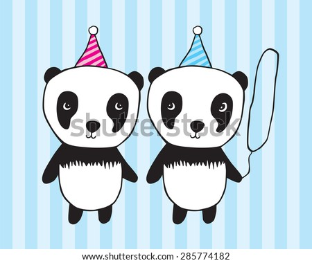 Happy birthday! Illustration for children / girl / boy graphics greeting card. Hand drawn panda for your design. Doodles, sketch. Blue striped background. Vector illustration. - stock vector