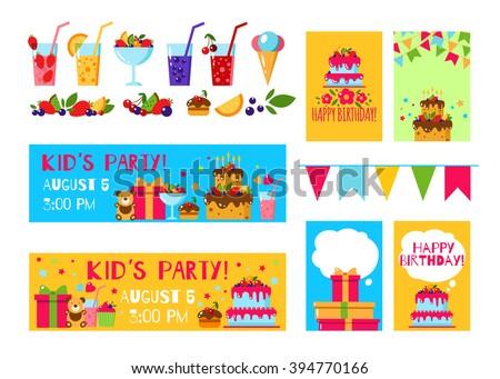 Happy Birthday Invitation Card Flat Vector Stock Vector - Birthday invitation background vector
