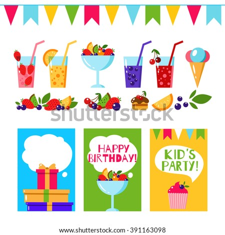 Happy birthday invitation card flat vector stock vector 391163098 happy birthday invitation card flat vector kids party background with cake fruits and stopboris Gallery