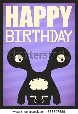 Happy birthday invitation card with cute monster vector illustration - stock vector