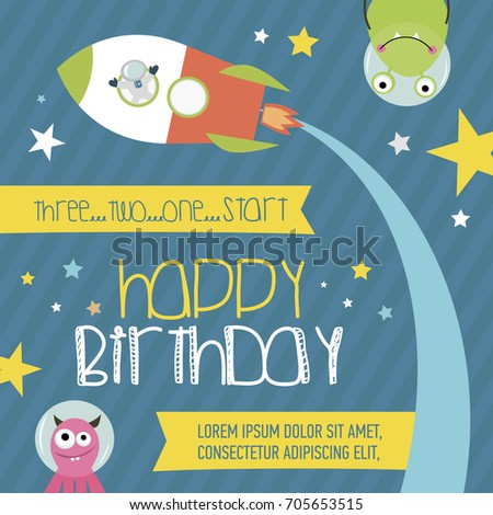 Happy birthday invitation greeting card space imagem vetorial de happy birthday invitation or greeting card for space party vector illustration stopboris Choice Image
