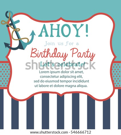Happy Birthday Invitation Greeting Card Template Stock Vector
