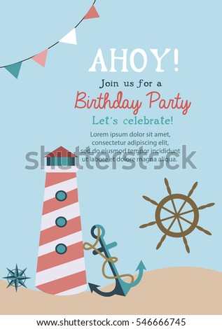 Happy birthday invitation greeting card template stock vector happy birthday invitation or greeting card template with nautical elements vector illustration stopboris