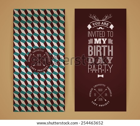 Happy birthday invitation, vintage retro background with geometric pattern. Hipster style. Vector illustration. - stock vector