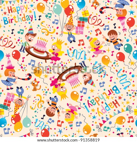 Happy Birthday kids party pattern - stock vector