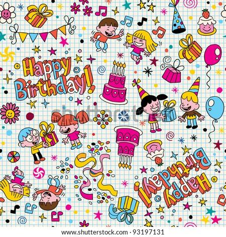 Happy Birthday kids party pattern - stock vector