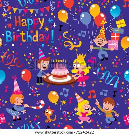 Happy Birthday kids pattern - stock vector
