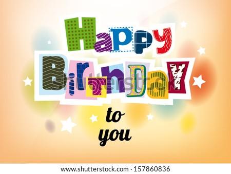 Happy Birthday. Lettering - stock vector