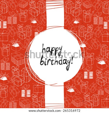 Happy Birthday Lettering. Gift Box Shaped Many Different Little Boxes. Red Paper Texture - stock vector