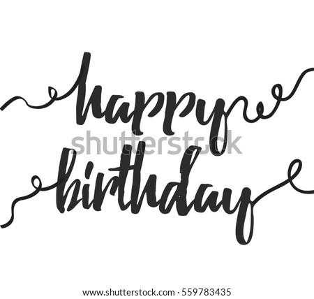 Happy Birthday Lettering Greeting Card TemplateCalligraphy Font Style