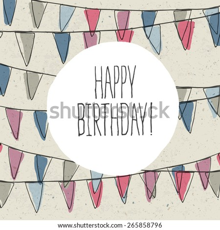 Happy Birthday Lettering On Holidays Pennant Bunting - stock vector