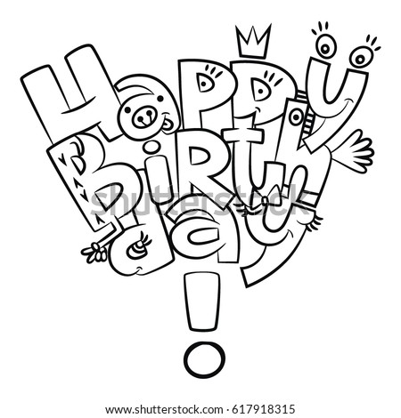 Happy Birthday Letters Coloring Vector Graphics เวกเตอร์ ...