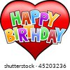 happy birthday letters on heart isolated - stock vector