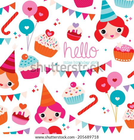 Happy birthday little girl birthday party stock vector royalty free happy birthday little girl birthday party invitation card cover design with garland and cupcakes illustration in filmwisefo