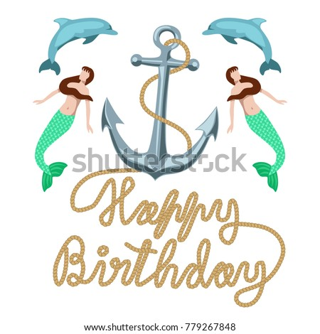 Happy birthday marine nautical vector greeting stock vector happy birthday marine nautical vector greeting card clipart with anchor mermaids dolphins and type bookmarktalkfo Choice Image