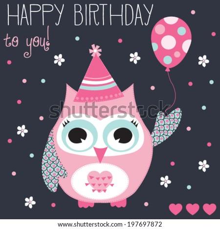 Happy birthday owl with balloon vector illustration  - stock vector